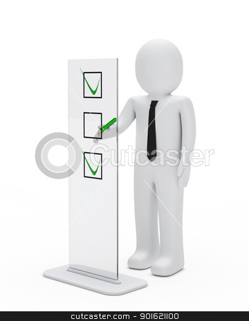 business man check stock photo, business man stand for check glass objekt by d3images