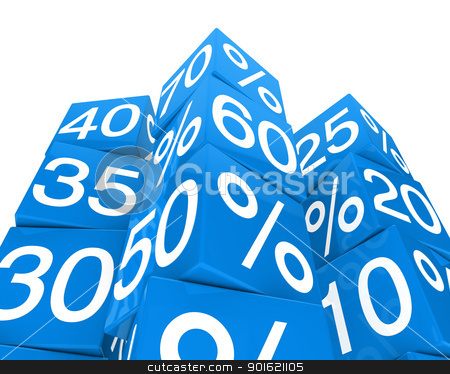 blue sale cube tower stock photo, many blue sale percent cubes high tower by d3images