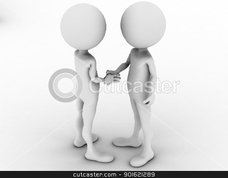 3d man business handshake  stock photo, 3d man business handshake   by dacasdo