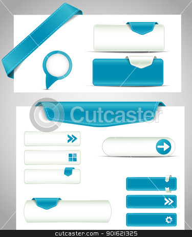 buttons stock vector clipart, set of blue buttons, banners, bookmarks for your site by Miroslava Hlavacova