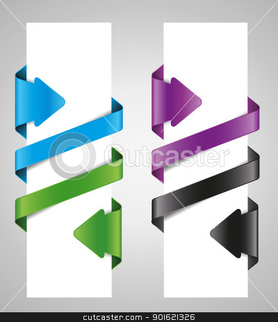 ribbons stock vector clipart, designing element set, ribbons and arrows  by Miroslava Hlavacova