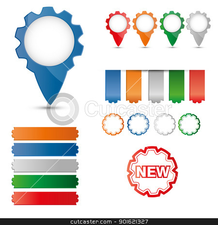 stickers stock vector clipart, A collection of colorful buttons, labels, stickers by Miroslava Hlavacova