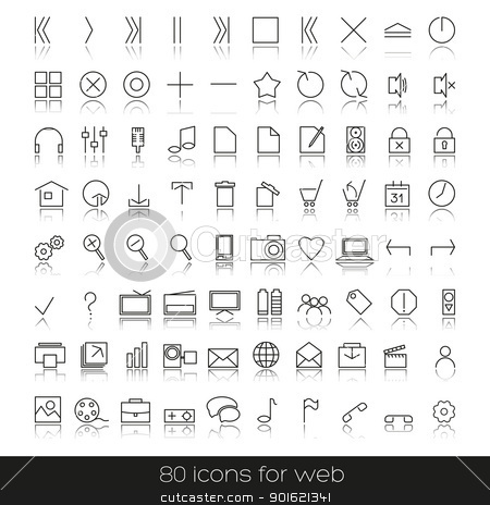 icons stock vector clipart, set of icons for your web, audio, Internet by Miroslava Hlavacova