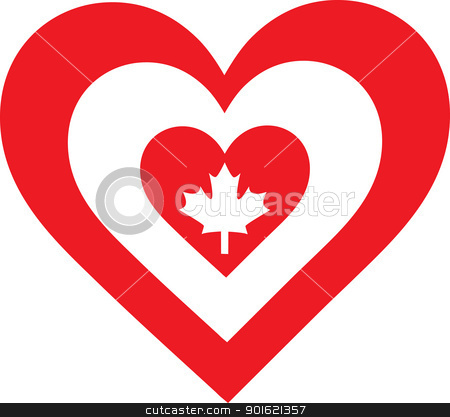 Canada Heart stock vector clipart, A concentric, heart shaped design, with national symbolism evocative of Canada. by Maria Bell
