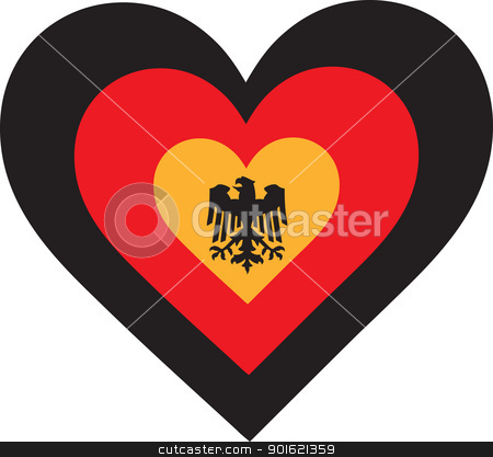 Germany Heart stock vector clipart, A concentric, heart shaped design, with national symbolism evocative of Germany. by Maria Bell