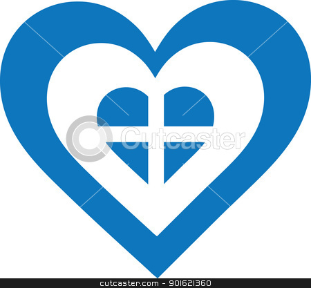 Greece Heart stock vector clipart, A concentric, heart shaped design, with national symbolism evocative of Greece. by Maria Bell