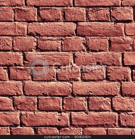 Red Brick Wall stock photo, Texture of wall made of bricks painted red by Petr Malyshev