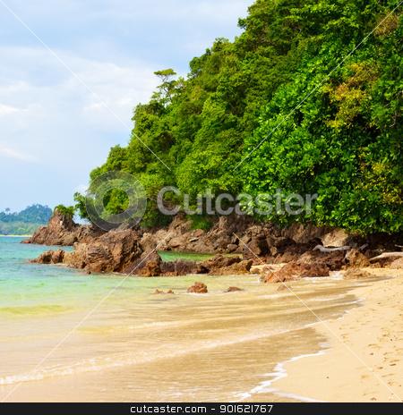 Rocky Shore stock photo, rocky along the beach, Andaman Sea, Thailand by Petr Malyshev