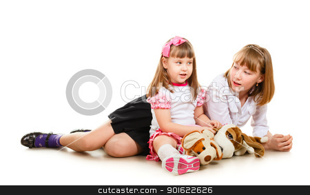 Cute Sisters stock photo, cute little sisters portrait, close up, isolated on white by Petr Malyshev