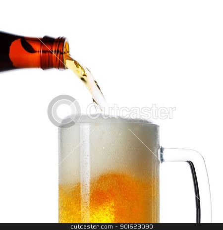 Pouring Beer stock photo, beer pouring from bottle into mug isolated by Petr Malyshev