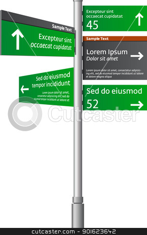 Road signs stock vector clipart, Road signs with arrows  by vtorous