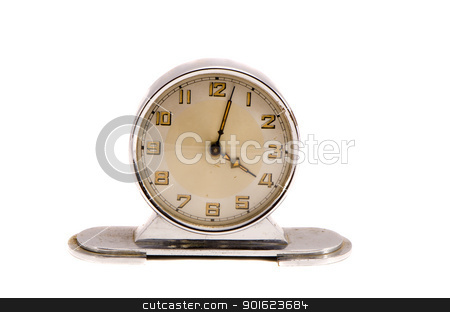 Ancient vintage retro clock minute four isolated  stock photo, Ancient vintage retro metal clock show few minute past four isolated on white background.  by sauletas