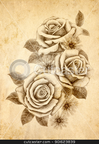 Freehand drawing  0002 stock photo, Old-styled rose. Freehand drawing by tanginuk1205