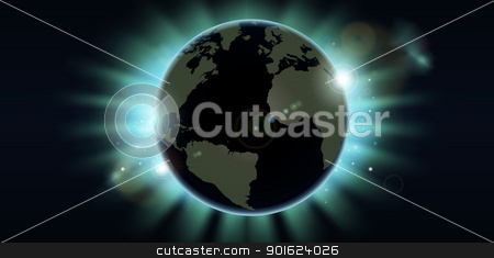 World globe eclipse background stock vector clipart, World globe eclipsing the sun directly behind it.  by Christos Georghiou