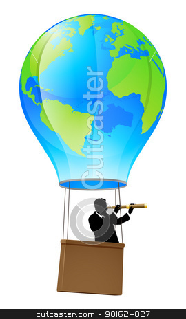 Searching for business opportunity stock vector clipart, Businessman in a business suit with a telescope looking forward for opportunity in a hot air balloon with a world globe on it. Concept illustration by Christos Georghiou