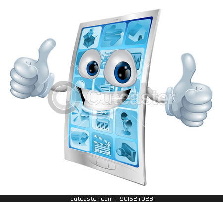 Mobile phone mascot double thumbs up stock vector clipart, Illustration of a mobile phone mascot character doing a double thumbs up gesture  by Christos Georghiou