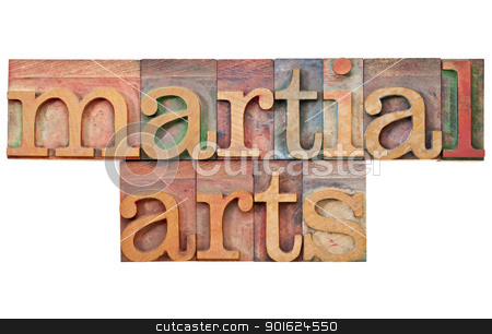 martial arts in letterpress type stock photo, martial arts - isolated text in vintage letterpress wood type by Marek Uliasz