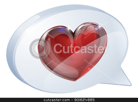 Heart speech bubble  stock vector clipart, Illustration of a heart speech bubble concept icon graphic by Christos Georghiou