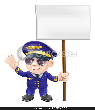 Cute pilot with sign character illustration stock vector clipart, Illustration of a cute airplane pilot character waving and holding message sign by Christos Georghiou