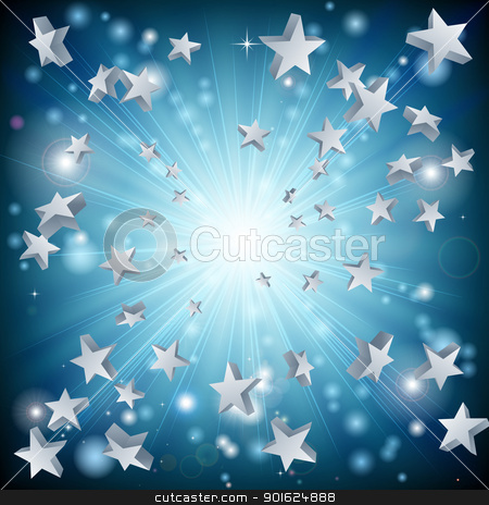 Blue star explosion background stock vector clipart, A background graphic design with a blue star explosion by Christos Georghiou