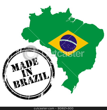 Made in Brazil stock vector clipart, Made in Brazil, stamp, map and flag of against white by Richard Laschon