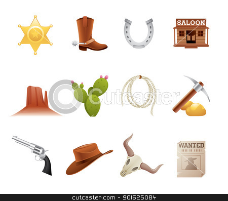 Wild west icons stock vector clipart, Set of 12 icons from the American Old West by Thomas Amby Johansen