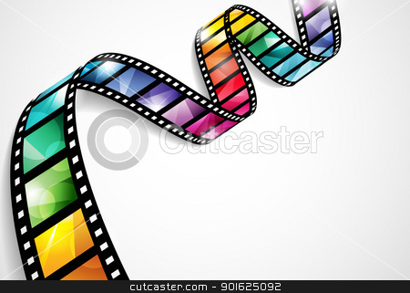 Colorful film strip design stock vector clipart, EPS10 vector design with a bright and colorful film strip by Thomas Amby Johansen