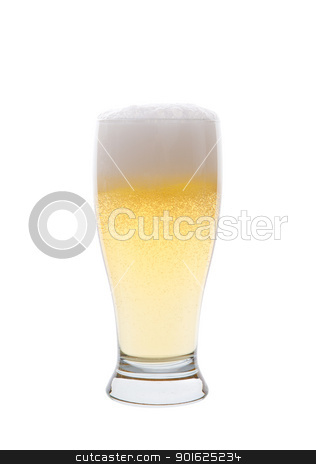 Beer stock photo, A light pilsner beer isolated on a white background. by Scott Little