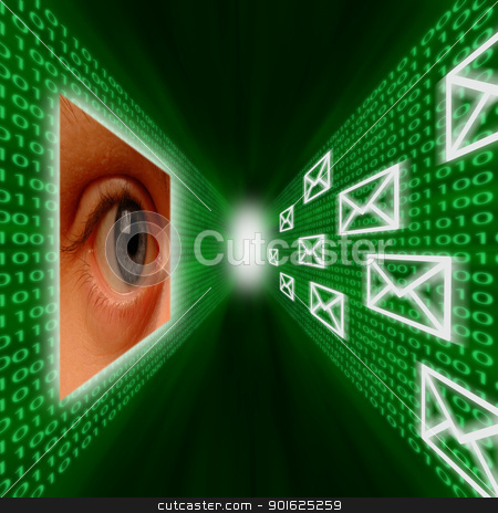An eye monitoring emails and binary code stock photo, An eye monitoring a corridor of emails and binary code by J.R. Bale