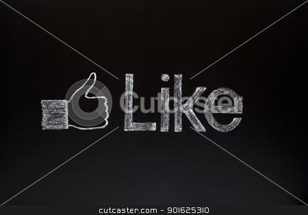 Thumbs up on blackboard stock photo, Thumbs up sign with the word Like on a blackboard with white chalk. by Ivelin Radkov