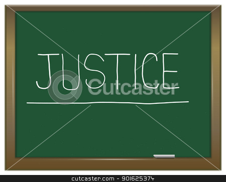 Justice concept. stock photo, Illustration depicting a green chalkboard with a justice concept written on it. by Samantha Craddock
