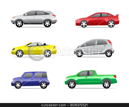 Cars icons set part 1 stock photo, Cars icons set isolated on white background, no transparencies. by lkeskinen