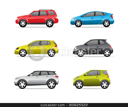 Cars icons set part 2 stock photo, Cars icons set isolated on white background, no transparencies. by lkeskinen