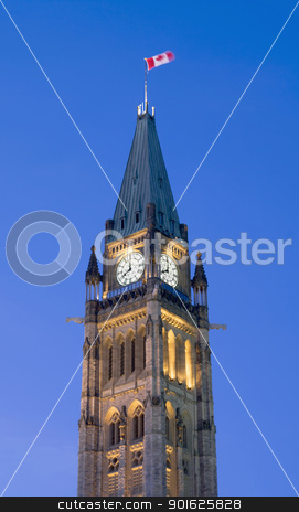 8 PM Politics stock photo, The canadian Parliament Centre Block showing 8 PM. by Michel Loiselle