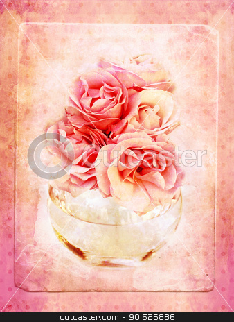 Vintage background with roses  stock photo, Vintage background with roses in the glass vase  by Juliet Photography