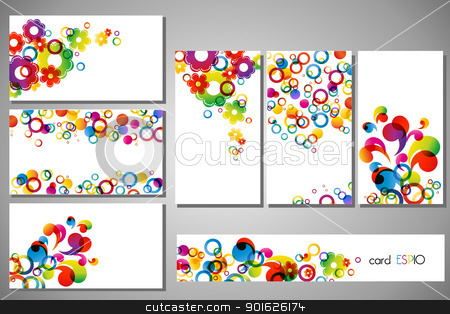 cards stock vector clipart, colorful business cards on white background by Miroslava Hlavacova