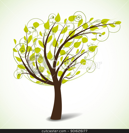tree stock vector clipart, tree crown in the shape of a leaf by Miroslava Hlavacova