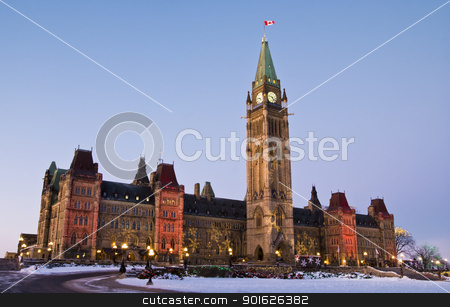 December Politics stock photo, The canadian Parliament Centre block during the Holiday Season in Ottawa, Canada. by Michel Loiselle
