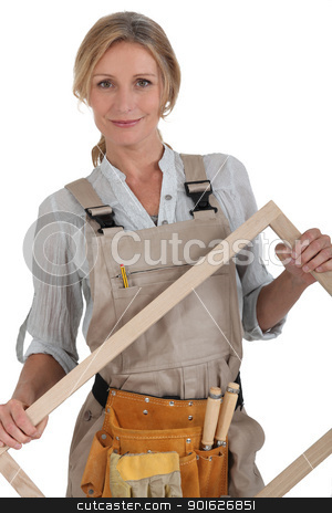 woman with wooden frame stock photo, woman with wooden frame by photography33