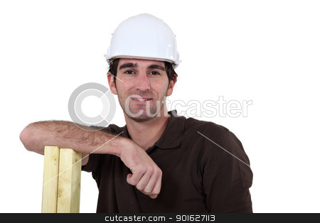Man leaning on planks of wood stock photo, Man leaning on planks of wood by photography33