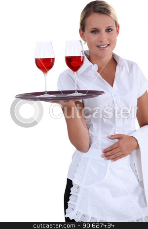 Blonde waitress with a tray stock photo, Blonde waitress with a tray by photography33