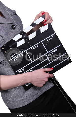 Woman holding clapboard on white background stock photo, Woman holding clapboard on white background by photography33