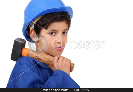 little boy dressed as a craftsman holding a hammer stock photo, little boy dressed as a craftsman holding a hammer by photography33