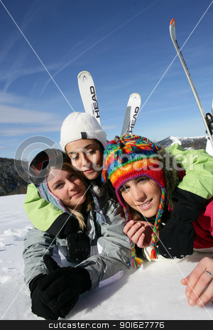 Friends on a skiing trip together stock photo, Friends on a skiing trip together by photography33