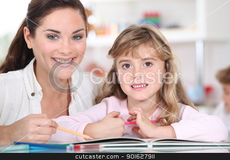 Teacher with girl stock photo, Teacher with girl by photography33