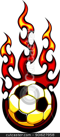 Soccer Flaming Ball Vector Illustration stock vector clipart, Flaming Soccer Ball Vector Image burning with Fire Flames by chromaco