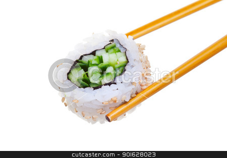 Sushi avacado stock photo, Sushi roll with chopsticks isolated on white background . Shallow  depth of field with focus on the front of the roll. by Steve Mcsweeny