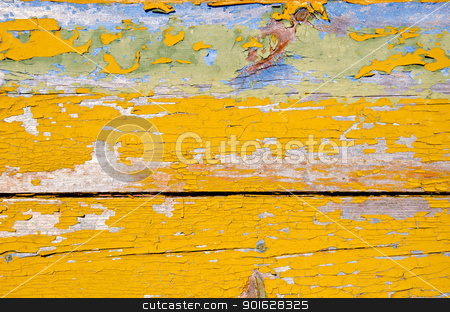 background of peel retro grunge wooden wall planks  stock photo, background of peel retro vintage grunge wooden wall planks of building painted in yellow.  by sauletas