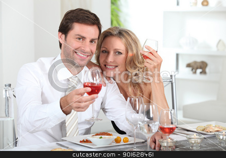 Couple eating meal at table stock photo, Couple eating meal at table by photography33
