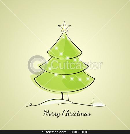 Christmas tree stock vector clipart, Christmas tree of light chain by Miroslava Hlavacova